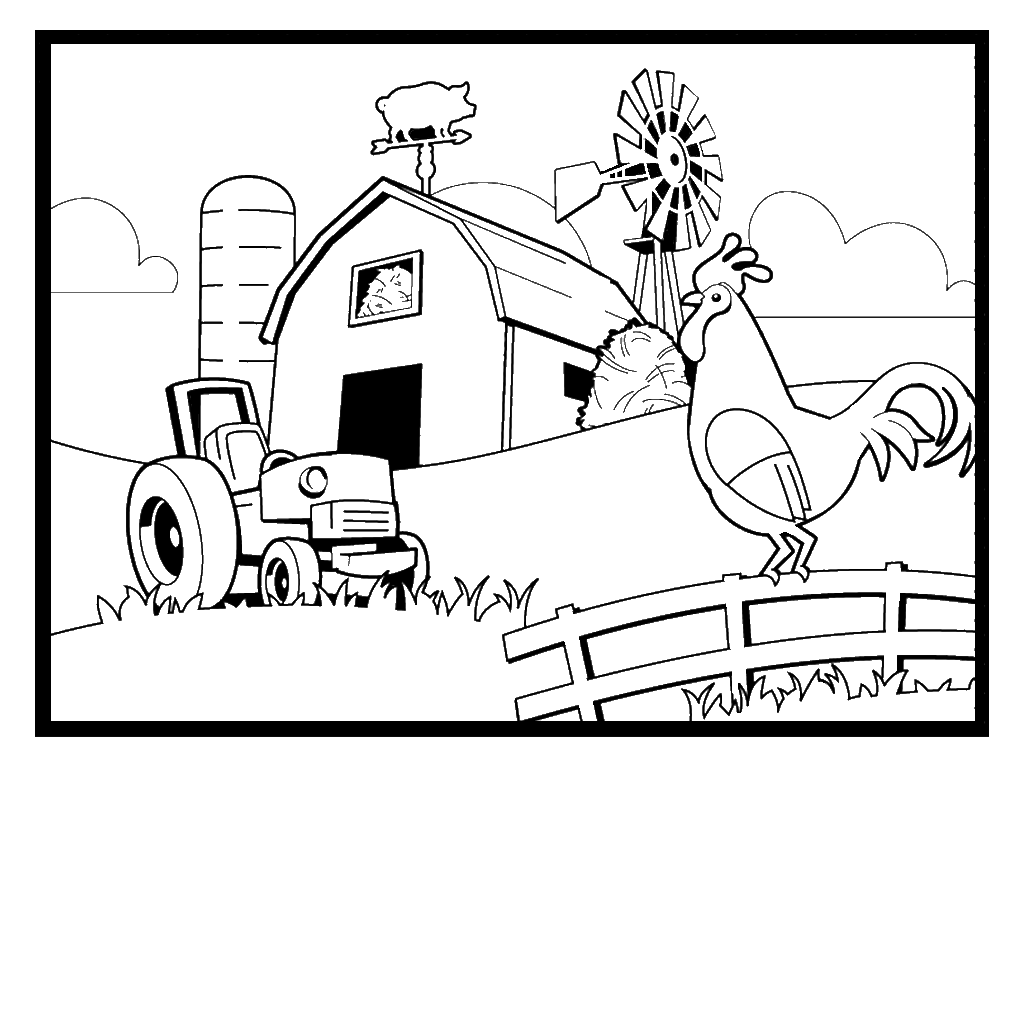 Free coloring pages of farm scenery