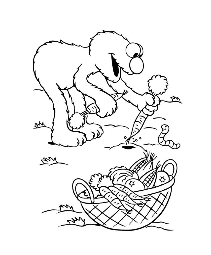 elmo thanksgiving coloring pages - elmo recogiendo verduras hd