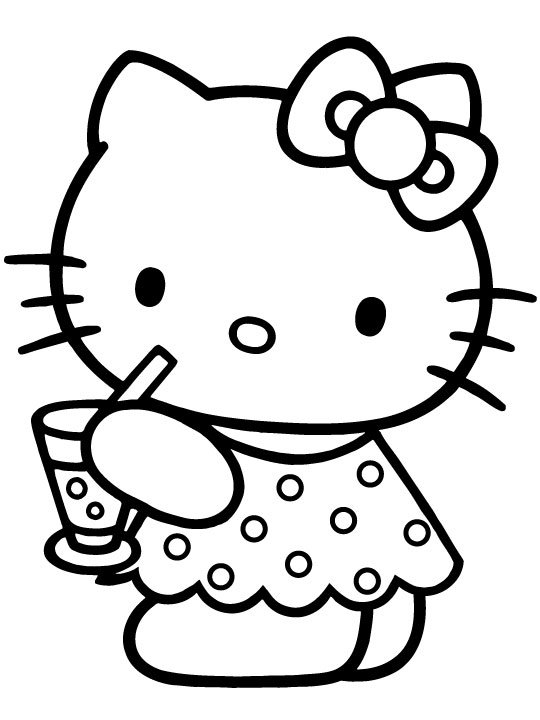 Hello Kitty con un refresco